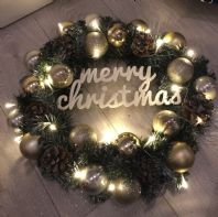 Christmas Spruce Wreath Gold Bauble Fairy Lights Front Door Wall Decoration